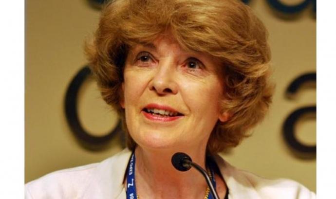 Susan George assisteix a la jornada organitzada pel dia mundial de l'Aigua a Barcelona (imatge: AttacMadrid) Font: