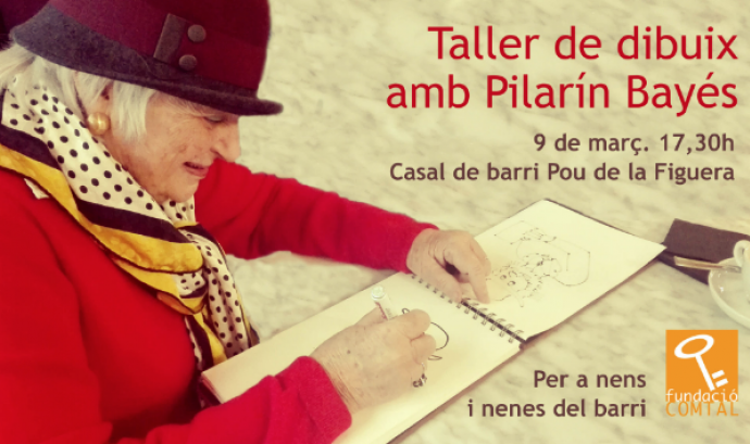 Taller de dibuix amb Pilarín Bayés. Font: Fundació Comtal