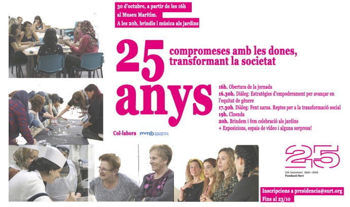 Cartell de la jornada '25 anys compromeses amb les dones, transformant la societat'