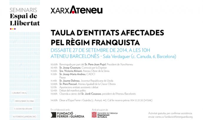 Taula d'entitats afectades pel règim franquista
