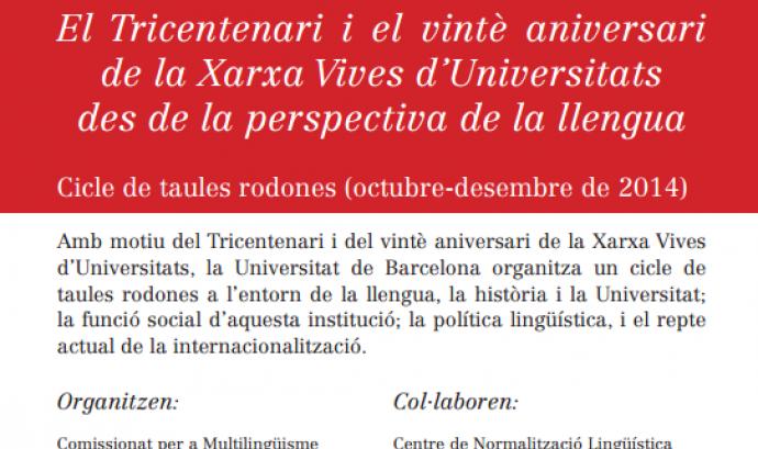 Cartell del cicle de conferències de la Xarxa Vives d'Universitats i la UB