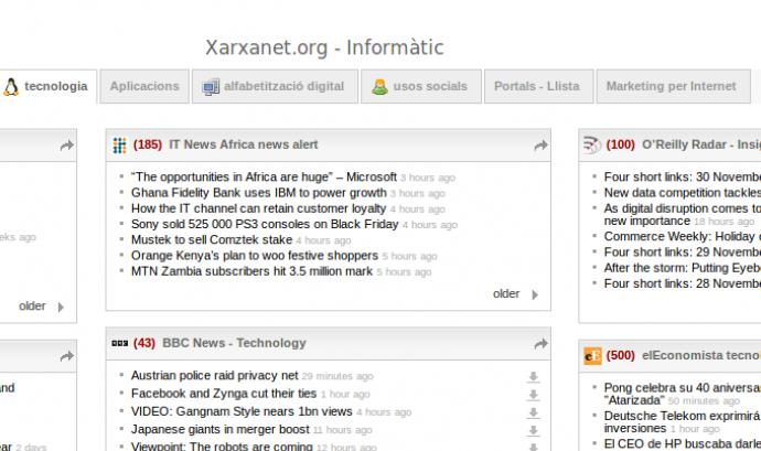 Una Captura de Pantalla del NetVibes de Xarxanet