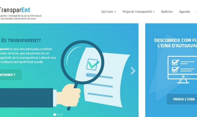 Visualització de la pàgina inicial de TransparENT, l'eina de transparència per a entitats ja disponible. Font: