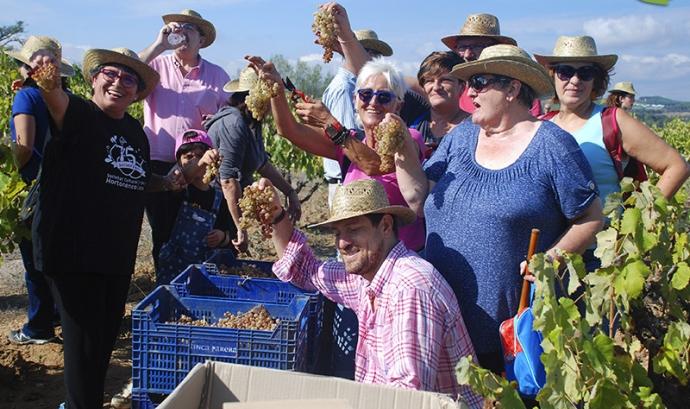 Grup de persones participant en la 'Verema Solidària'