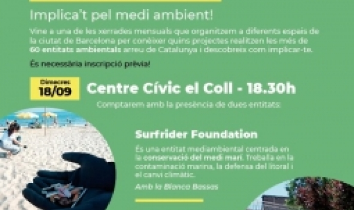 Presentació del voluntariat ambiental dimecres 18 de setembre al Centre Civic El Coll