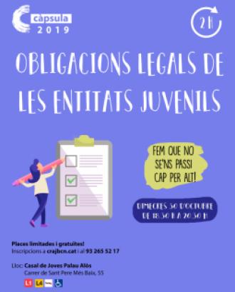 Cartell de la càpsula formativa d'obligacions legals per entitats