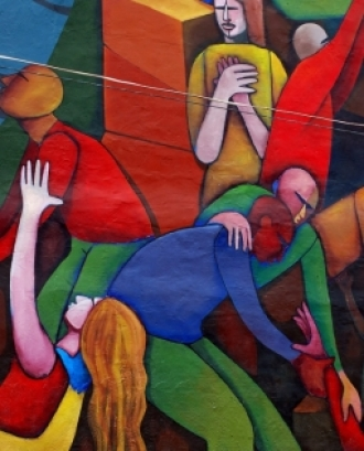 Fotografia d'un mural de cooperació.