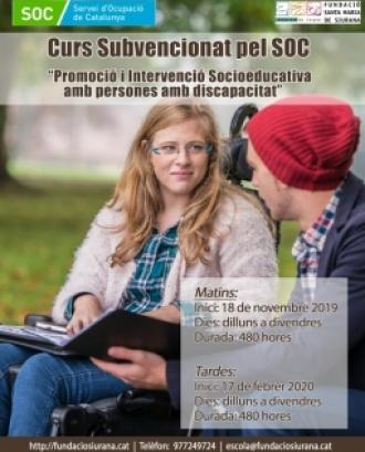 Curs de Promoció i intervenció socioeducativa amb persones amb discapacitat, subvencionat pel SOC, a Tarragona