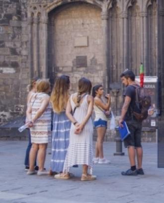 Fotografia cartell 'Free tours, treballar per propines'
