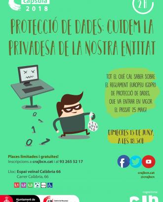 """Imatge del cartell de la formació """"Protecció de dades, cuidem la privadesa a la nostra entitat!"""""""