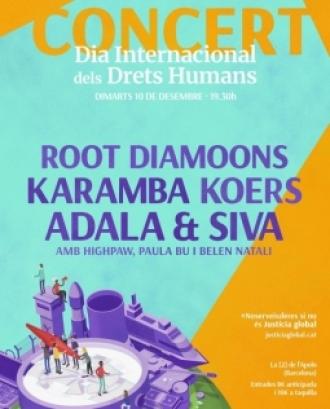 El concert compta amb grups de música com Root Diamoons, Karamba Koers i Adala Et Siva. Font: Lafede.cat.