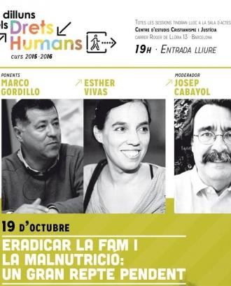 """Conferència """"Eradicar la fam i la malnutrició: un gran repte pendent"""""""