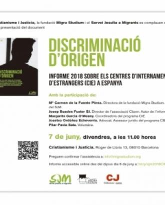 Presentació de l'informe 'Discriminació d'origen. Informe CIE 2018'