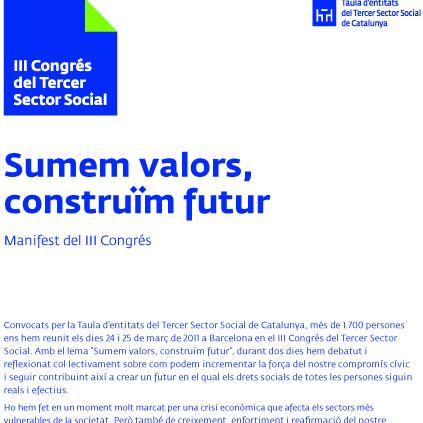 Portada de Sumem valors, construïm futur: 3er Congrés del Tercer Sector Social: manifest del III Congrés