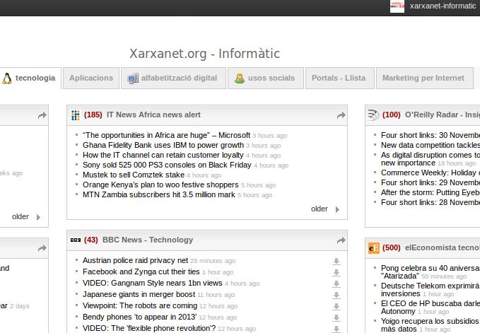 Una Captura de Pantalla del NetVibes de Xarxanet Font:
