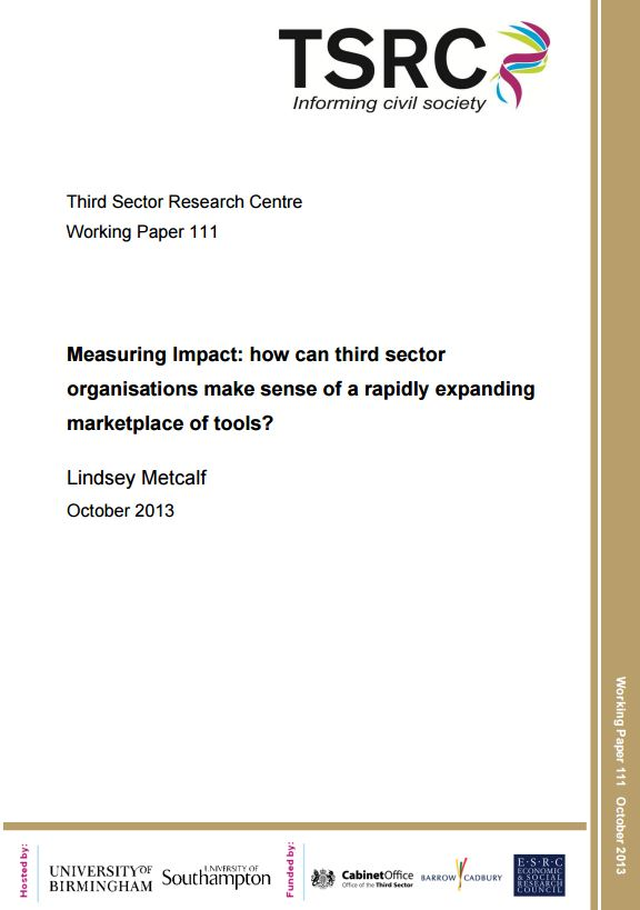 Portada de Measuring Impact: how can third sector organisations make sense of a rapidly expanding marketplace of tools?