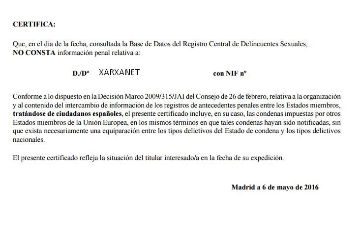 El certificat del registre de delinq ents sexuals pas a pas for Certificat de precompte
