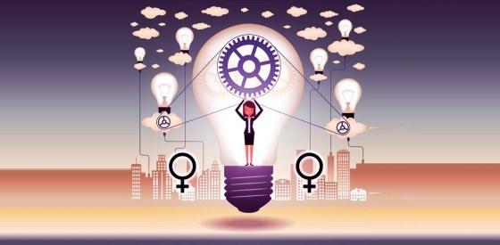 la Ilustración que muestra a una mujer rodeada de focos de luz, herramientas, nubes, etc.